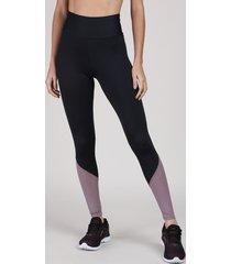 calça legging feminina esportiva ace cintura super alta com recorte em tela preta
