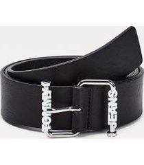 tommy hilfiger women's tj buckle leather belt black - 36