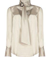 brunello cucinelli stretch silk satin blouse