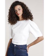 blusa feminina mindset com abertura e amarração manga curta decote redondo off white