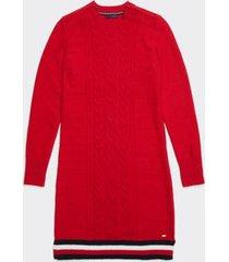 tommy hilfiger women's adaptive cable knit dress crimson/multi - xs