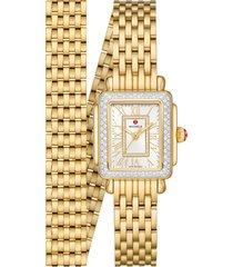 women's michele deco madison mini diamond bracelet watch, 22mm