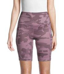 yogalicious women's lux camo high-waist bike shorts - purple camo - size xs