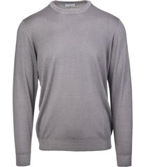 fedeli man round neck pullover in light grey worsted wool