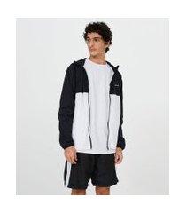 jaqueta esportiva lisa gola alta com capuz   blue steel   preto   p