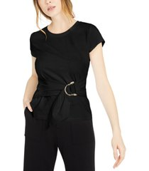 inc cotton belted-detail top, created for macy's