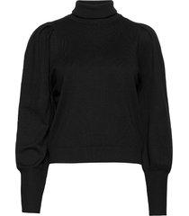leana roll neck knit turtleneck polotröja svart soft rebels