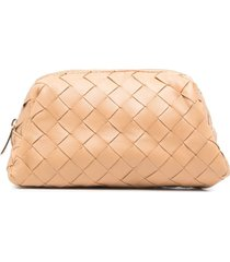 bottega veneta intrecciato zip-up cosmetic case - neutrals