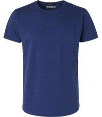 no excess t-shirt s/sl, r-neck, garm dyed slu indigo blue blauw