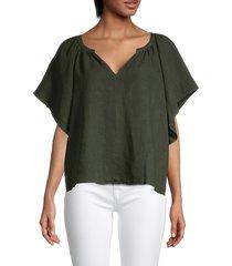 velvet women's v-neck linen top - green - size xs