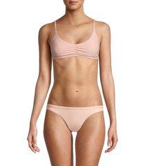 petal and sea by pq women's ruched bralette bikini top - peach - size m