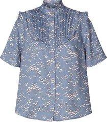 blouse met print maria  blauw