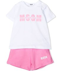 msgm white and pink cotton tracksuit set