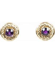 david yurman cable 14k gold amethyst stud earrings gold/purple sz: