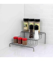 home basics 3 tier steel seasoning rack, black onyx