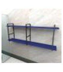 prateleira industrial banheiro aço preto 180x30x68cm (c)x(l)x(a) mdf azul modelo ind37azb