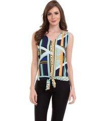 blusa crepe amarração na cintura feminina - feminino