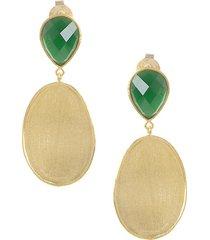 18k goldplate cubic zirconia, mother-of-pearl doublet & satin wavy oval drop earrings