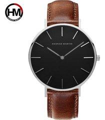 reloj de correa de nylon de los hombres de la cara-marrón