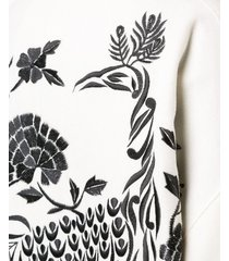 josie natori peacock embroidered felted coat - white