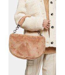 florence beige faux fur shoulder bag - beige