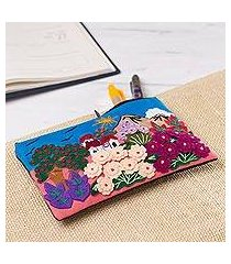 appliqu pencil case, 'flourishing gardens' (peru)