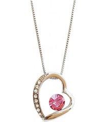 collar corazón rodinado rosa joyas montero