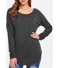 women's scoop neck asymmetrical long sleeve sweater