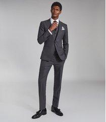 reiss bounce - wool slim fit trousers in grey, mens, size 38