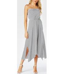 yoins white stripe strapless elastic waist slit hem dress