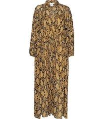 snake ls maxi dress jurk knielengte geel second female