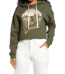 women's bp. cutoff graphic hoodie, size x-large - green