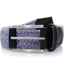 anderson's belts leather trimmed elasticated woven belt | blue | af2949bl