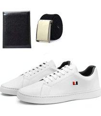 sapatênis mb básico masculino com cinto e carteira branco