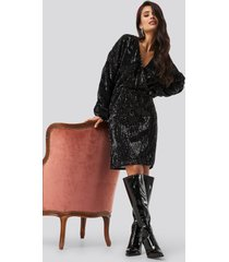 na-kd party balloon sleeve v-neck sequins dress - black