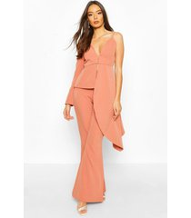 boohoo occasion waterfall one shoulder blazer, apricot