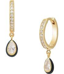 gabi rielle women's 14k gold vermeil, micropavé & enamel teardrop huggie earrings