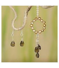 cultured pearl and smoky quartz jewelry set, 'waterfall' (mexico)