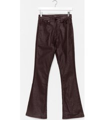 womens snake it to the dancefloor coated flare trousers - brown