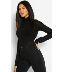 basic rib knit roll neck sweater, black