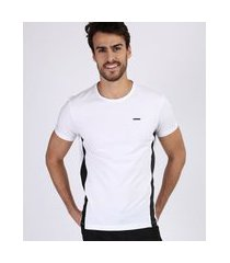 camiseta masculina com recortes manga curta gola careca branca