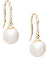 14k yellow gold, 8mm pearl & diamond hood drop earrings
