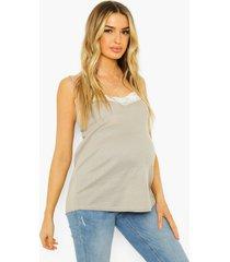 zwangerschap geribbeld hemdje met kanten zoom, grey marl