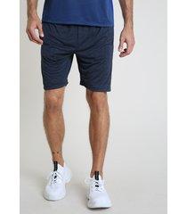 bermuda masculina esportiva ace com faixa lateral azul escuro