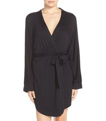 women's honeydew intimates all american jersey robe, size small - black
