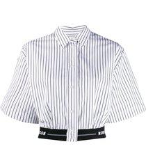 msgm elastic-hem striped crop shirt - white