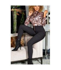 sexy hoge taille broek met decoratieve knopen zwart