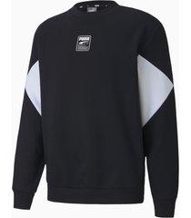 rebel small logo sweater met ronde hals voor heren, zwart/aucun, maat xl | puma