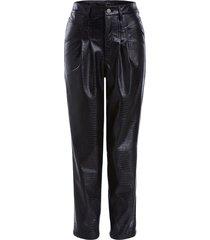faux leather broek met dierenprint lilly  zwart