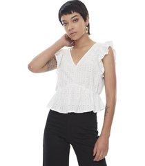 blusa sin manga vuelos blanco  corona